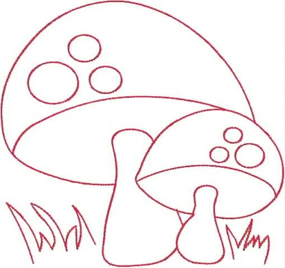 Picture of Mushrooms Redwork